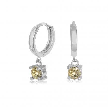 CITRINE-earrings-SILVER-HOOPS