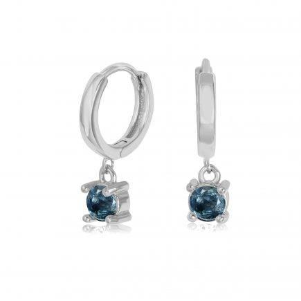 BLUE SAPPHIRE-earrings-SILVER-HOOPS