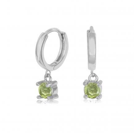 PERIDOT-earrings-SILVER-HOOPS